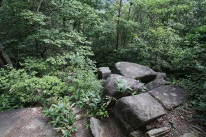 神武岩の頂上部に空いた穴が見える
